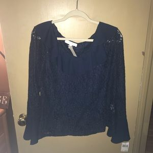 Adiva Navy lace dressy blouse